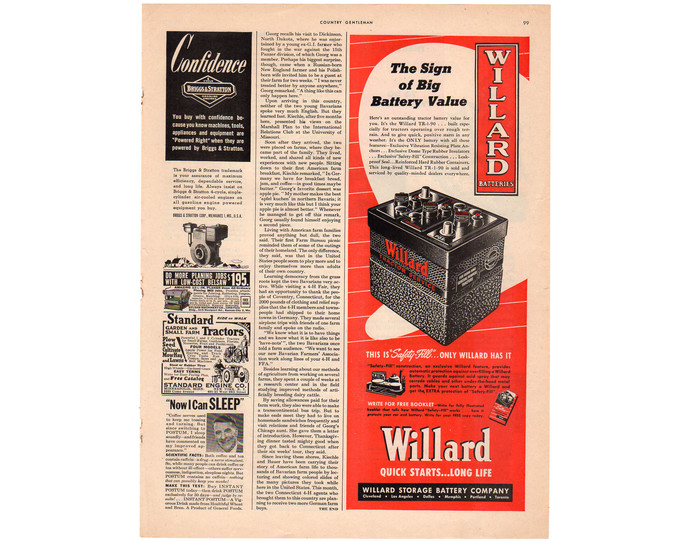 1950 Willard Battery Magazine Print Ad, Vintage Auto Advertising, Red Man Cave