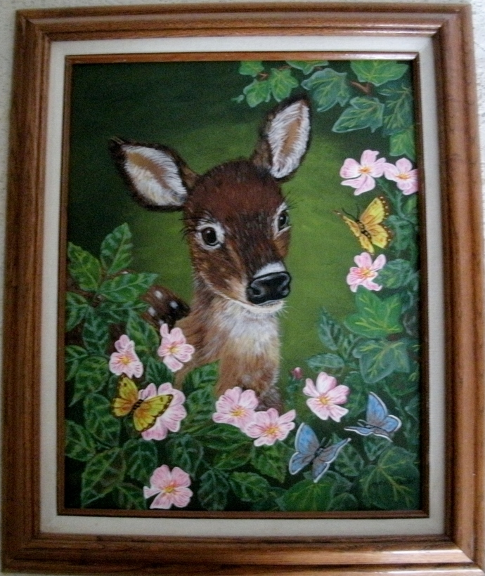 Original Deer Painting, fine art, acrylic, animal, fawn, realism, wildlife,