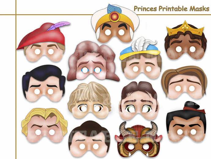 Unique Prince Party Printable Masks Collection, party mask, birthday, party