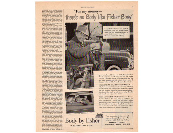 Vintage 1950 General Motors Body by Fisher Car Magazine Print Ad, Chevrolet,
