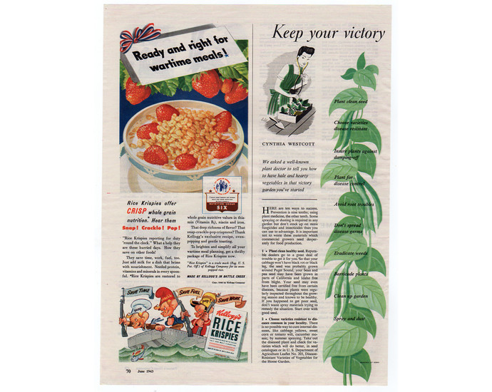 Kelloggs Rice Krispies Cereal Ad, Vintage 1940s Food Advertising, WW2 Patriotic