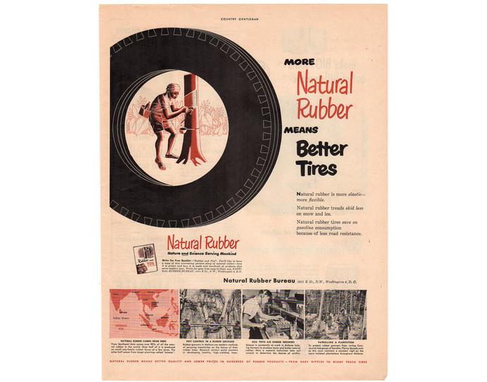 Natural Rubber Vintage 1950s Tire Magazine Print Ad, Man Cave Decor