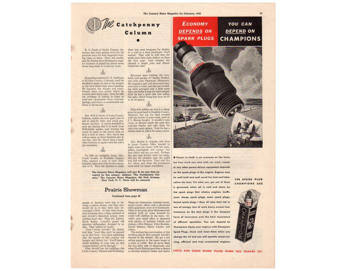 Vintage Champion Spark Plugs Print Ad, 1930s Automotive Magazine Advertising,