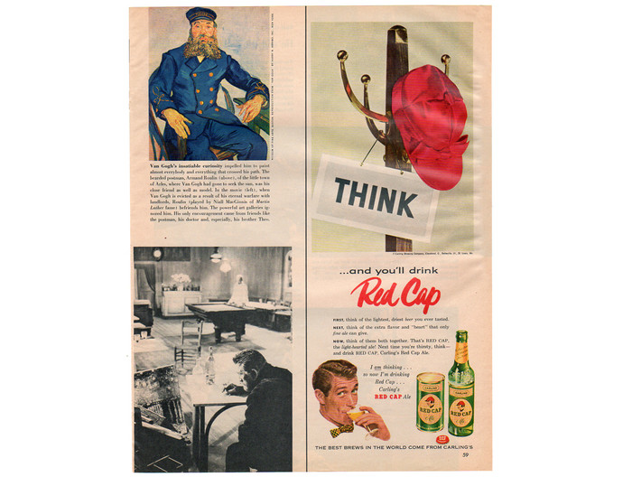 Carling Red Cap Ale Vintage 1950s Magazine Print Ad, Breweriana Advertising,