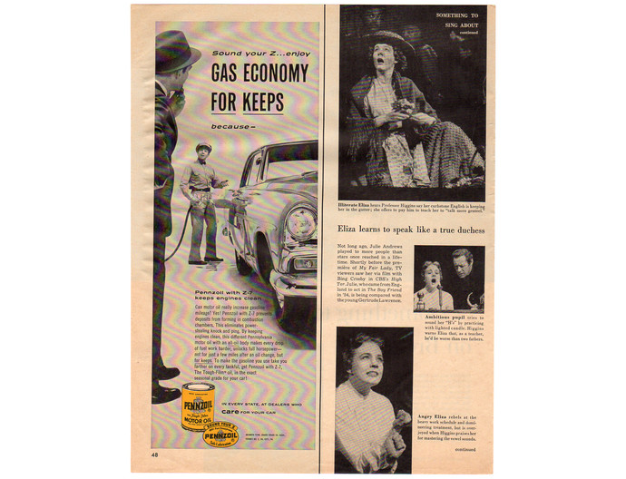 Vintage 1950s Pennzoil Magazine Print Ad, Motor Oil Advertising, Yellow Man Cave