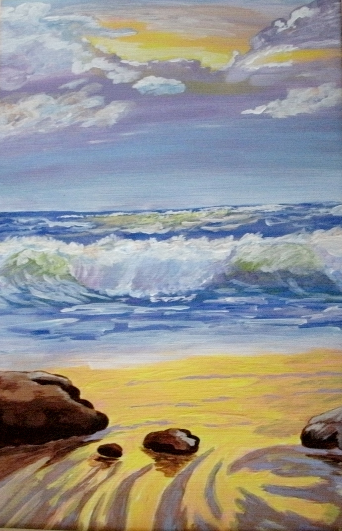 Ocean Seascape Painting, fine art, realism, original, landscape, nature, beach,