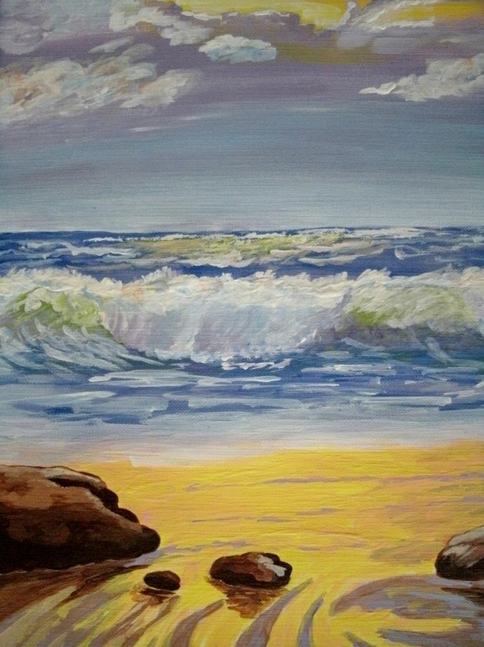 Ocean Seascape Painting, fine art, realism, original, landscape, nature, beach,
