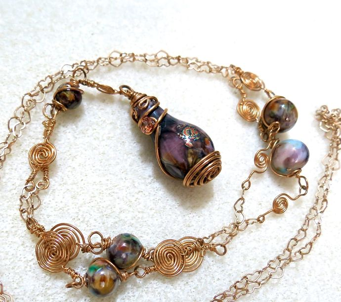 Lavender Lampwork Pendant with Champagne CZ on Swirl & Heart-link Necklace