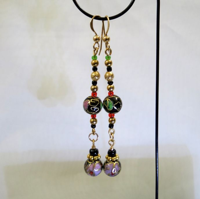 Gold, Black, Pink & Green Flower Patterned Cloisonné Dangly Earrings on Gold Ear