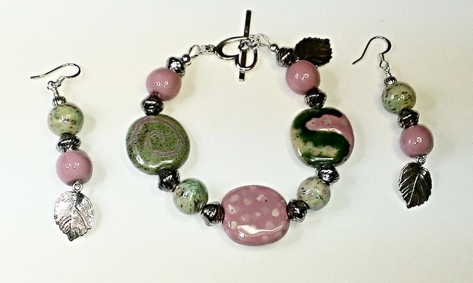 Kazuri Bracelet & Earring Set, Item #392