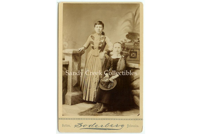 Antique Cabinet Photo Victorian Girls with Feather Hat Sutton Nebraska Soderberg
