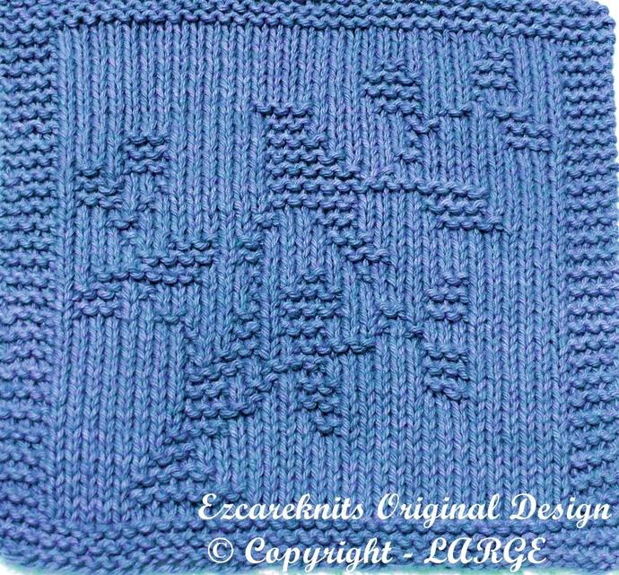 LITTLE BLUE BIRD - Cloth Knitting Pattern - PDF