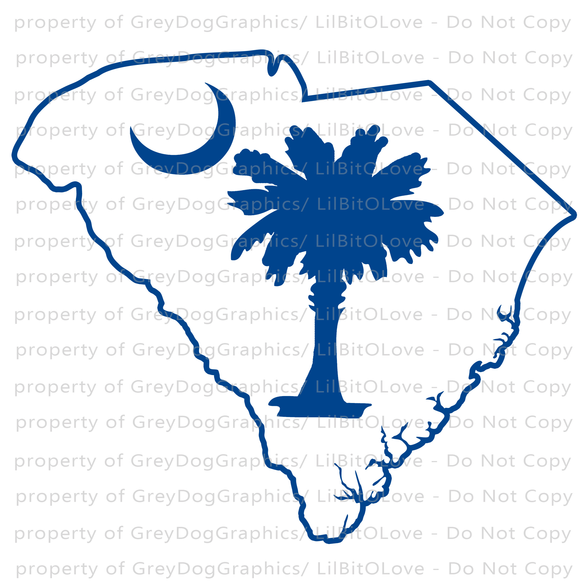 South Carolina Outline With Moon And Palmetto By