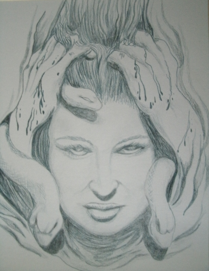Medusa Drawing, original fine art fantasy pagan surreal portrait home decor