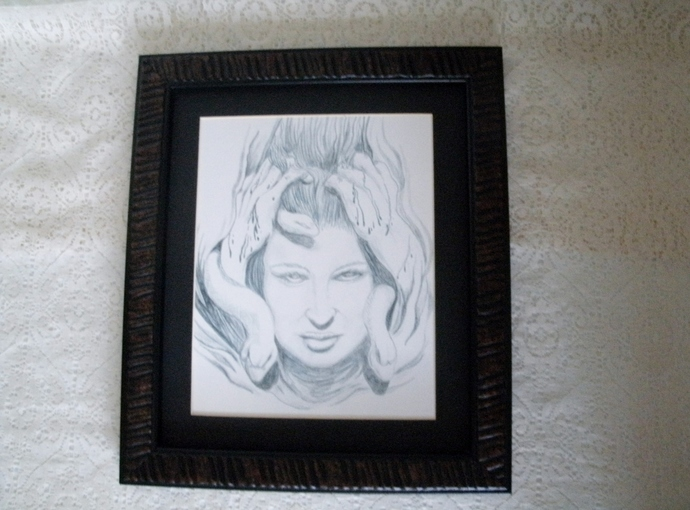 Medusa Drawing, original fine art fantasy pagan surreal portrait home decor