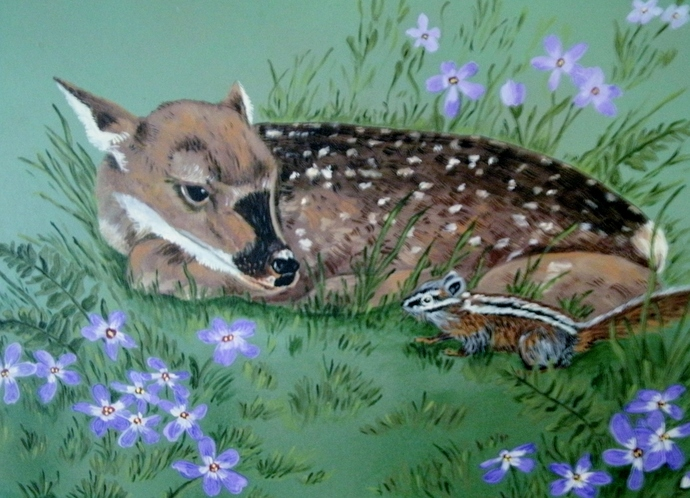 Original Deer Painting, fine art, acrylic, animal, realism, wildlife, fawn,