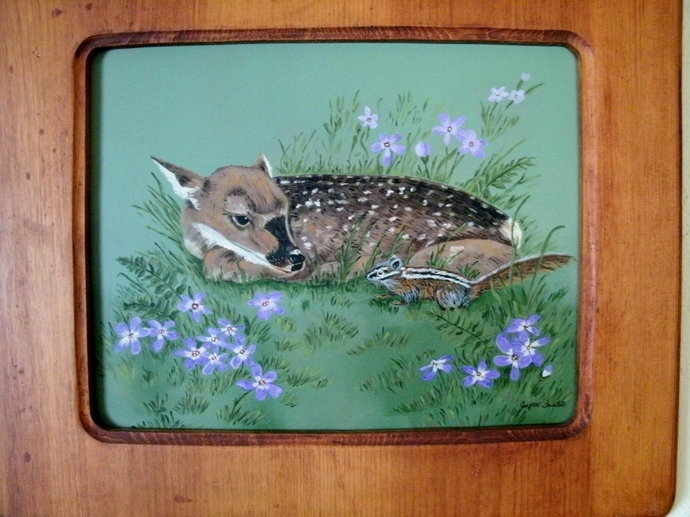 Original Deer Painting, fine art, acrylic, animal, realism, wildlife, fawn,