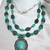 Chunky Carved Teal Jade Necklace with Turquoise Blue Magnesite Tibetan Silver 2