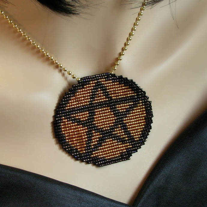 Bead loomed Pagan Wiccan pentacle symbol pendant