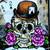 Smilin Joe Skull with Roses digital stamp