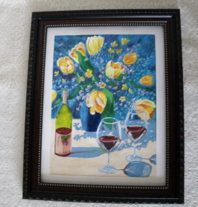 Still Life Painting, fine art, realism, original, floral, flower, cottage chic,