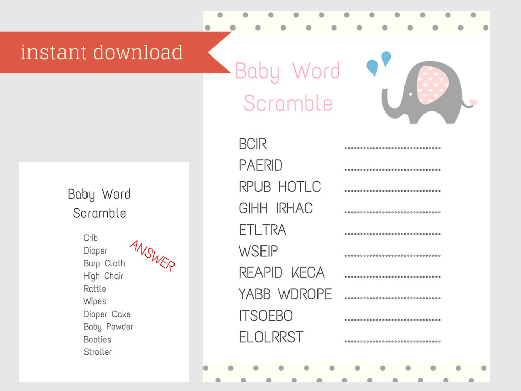 Baby Shower Scramble Game, Baby Words By TheLastCandy On Zibbet