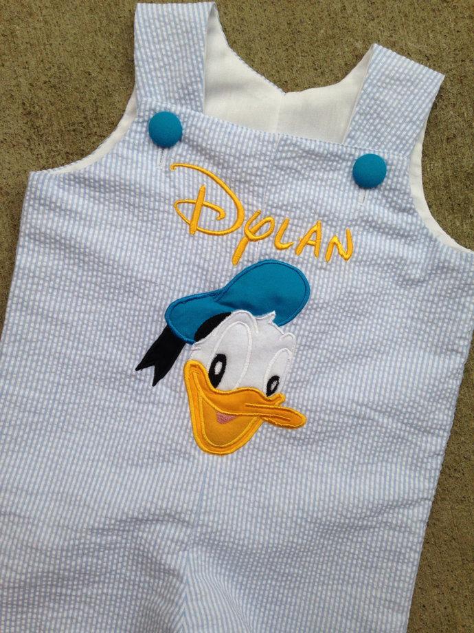 Donald Duck outfit, PERSONALIZED Jon Jon, shortall, romper