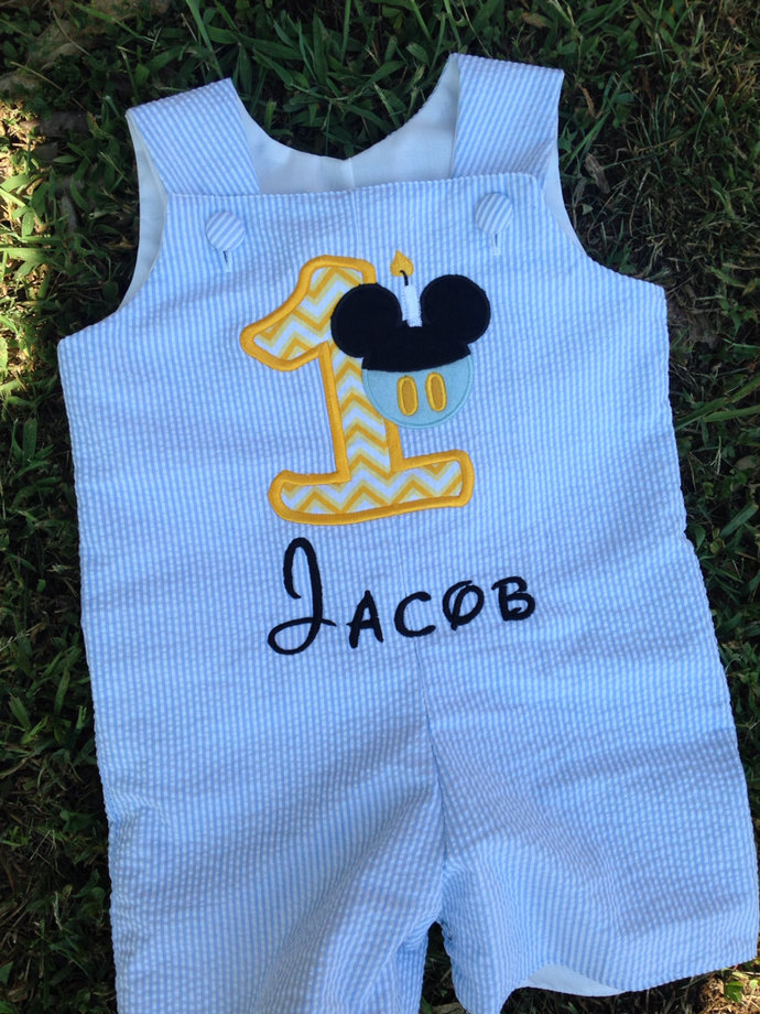 UNIQUE REmiC'S Baby Mickey mouse shortall seersucker boy outfit