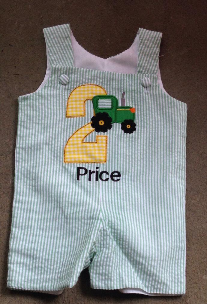 HANDMADE Birthday boy  tractor shortall, John deere tractor shortall, Jon Jon,