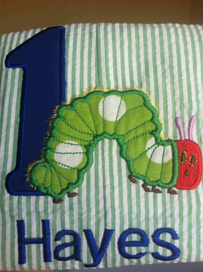 First birthday caterpillar Jon Jon, romper, shortall.