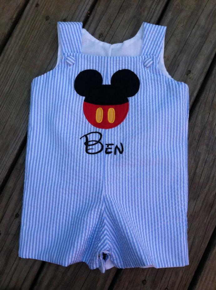 Shortall blue seersucker Mickey Mouse  button face
