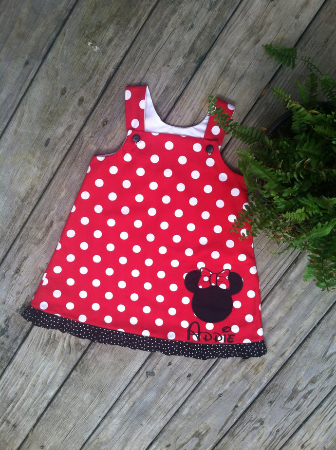 Fully lined HANDMADE Minnie Mouse A line Dress