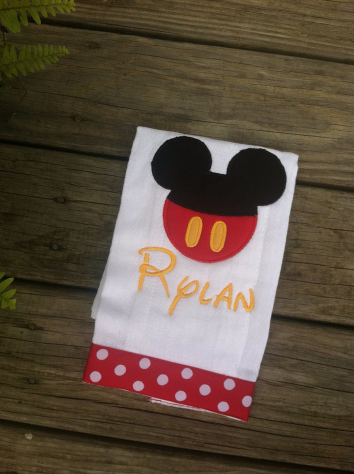 Mickey or Minnie Mouse burp cloth