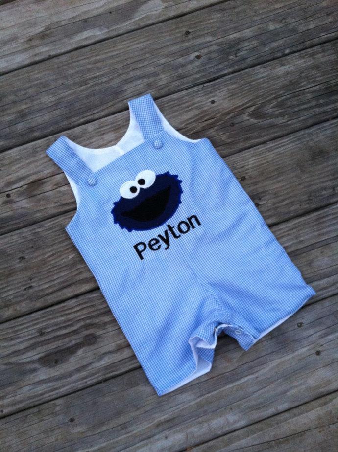 Cookie Monster outfit, romper,Jon Jon, shortall