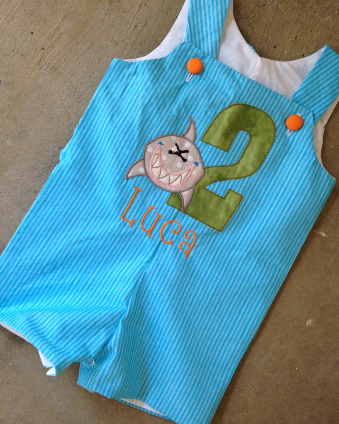 Bruce the shark Jon Jon, personalized shortall/romper