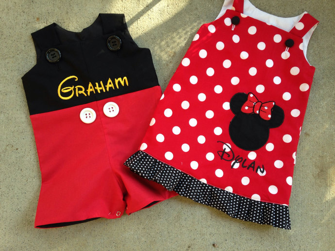 Twins Disney trip personalized, Mickey Mouse birthday party  customized brother