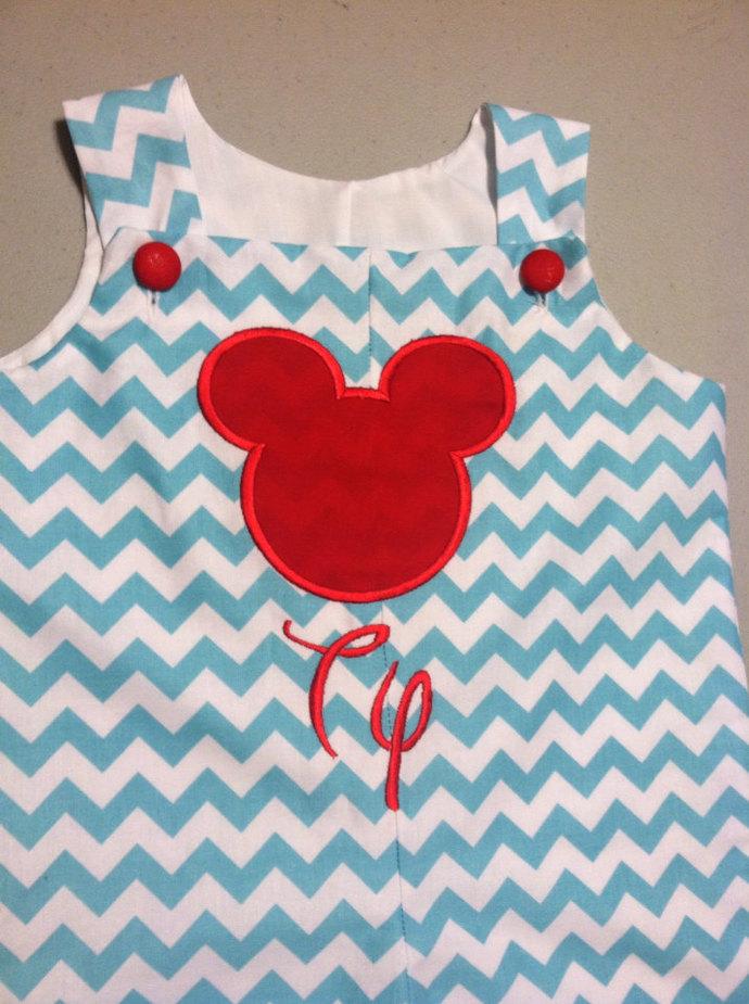 Aqua chevron red Mickey's silhouette