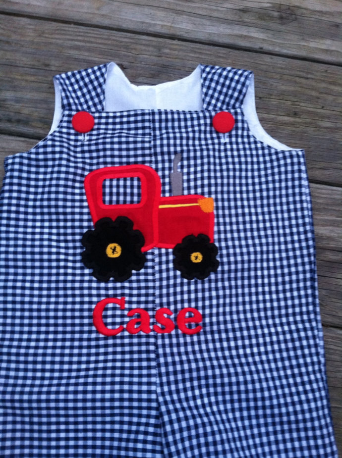 LONGALL, overall personalized custom boutique navy check tractor