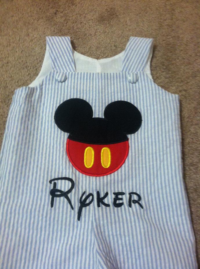 LONGALL (pants) Blue seersucker Mickey's button face REmiC's original design.