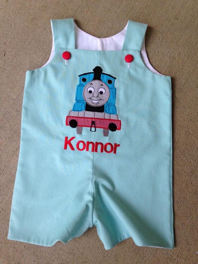 SHORTALL personalized birthday Boutique Thomas the train shortall, Jon Jon,