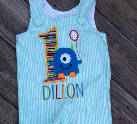 Cute monster birthday outfit SHORTALL