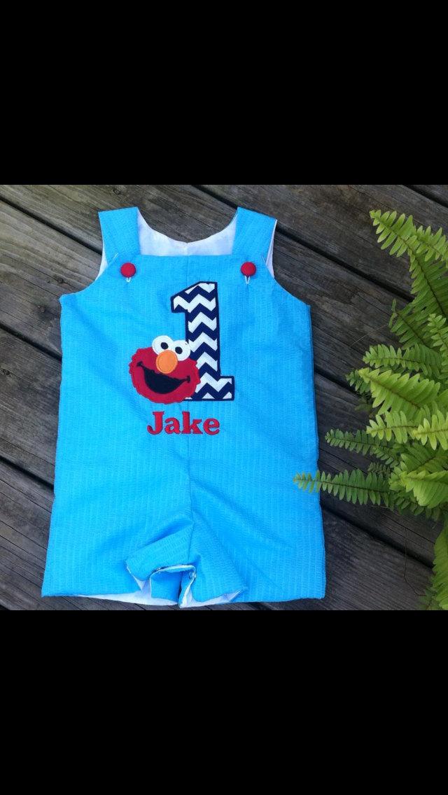 Elmo outfit, Elmo's first birthday, romper, Jon Jon, shortall