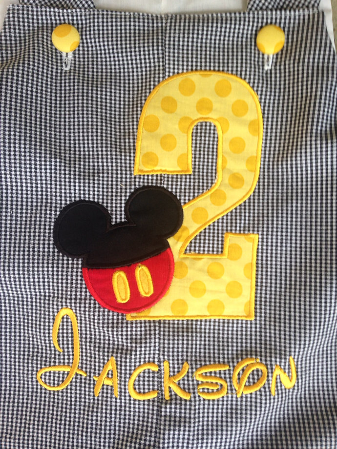 REmiC's Mickey Mouse shortall-romper-Jon Jon black gingham birthday outfit