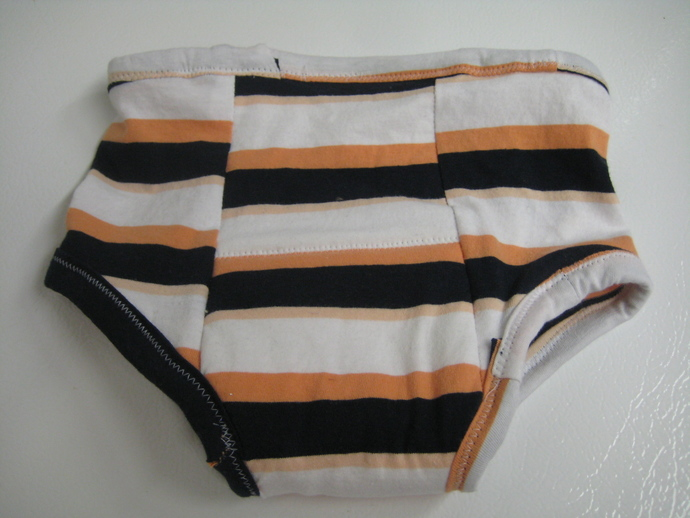 Peach, Black and White Stripes Reusable Cloth and Bamboo Potty Training Pants -