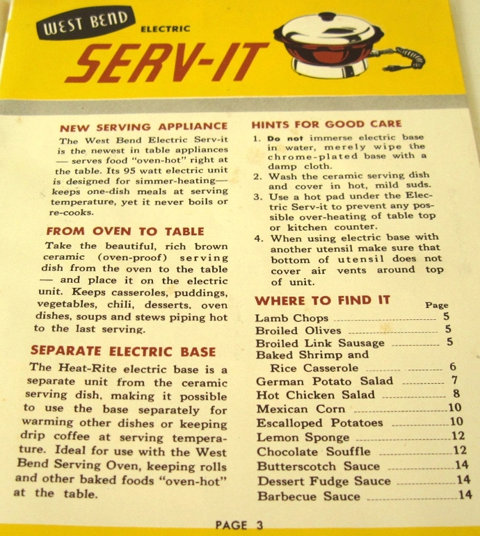 West Bend Serv It Instruction Manual Recipe Book Electric Cooker Food Warmer