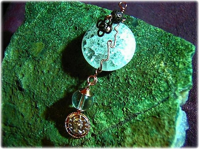 STeamPunk Wire wrapped Crackle Glass pendant with copper filigree and czech