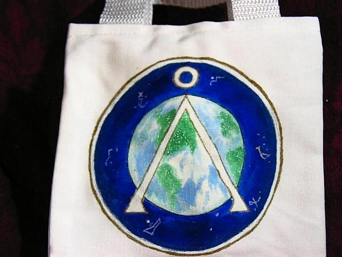hand painted STARGATE EARTH glyph tote- mini, bag, - get your name on it