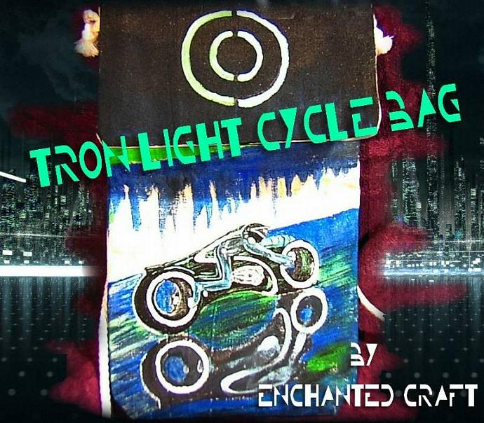 hand painted TRON LIGHT CYCLE Bag- cozy carry your psp, cell phone, mp3 -glows