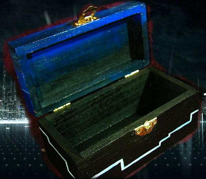 TRON LIGHT CYCLE Box- wooden chest with details- glows in the dark- get your