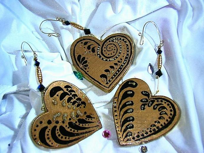 Handpainted set of 3 Gold Strokework Fantasy heart ornaments with wire-wrapped